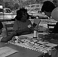 Yetta Jake, Paiute, demonstrates beading and leather work to a visitor at third Folklife Festival at Zion National Park Nature (ae61b891b96845e39021888486c88802).jpg