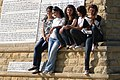 Young Turkish Women Pose on Ataturk Memorial - Chunuk Bair - Gallipoli Peninsula - Dardanelles - Turkey (5734773780).jpg