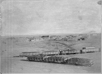 Atlantic and Pacific Railroad - Atlantic and Pacific Railroad cars near Winslow, Arizona, ca. 1890