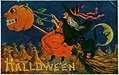 """Hallowe'en."" (A Witch riding a broomstick being pulled by a jack-o-lantern with a black cat).jpg"