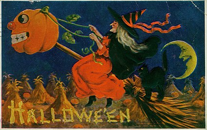 """Hallowe'en."" (A Witch riding a broomstick being pulled by a jack-o-lantern with a black cat)"