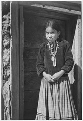 """Navajo Girl, Canyon de Chelle, Arizona, 1941."" (Canyon de Chelly National Monument) (vertical orientation), 1941 - NARA - 519950.tif"
