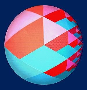 "Drop City - ""Pythagorean Tree "", by Drop Artists, 1967, acrylic on panel, 48"" diam."