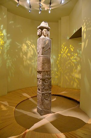 "Historical Slavic religion - The ""Zbruch Idol"" of Svetovid preserved at Krakow Archaeological Museum"