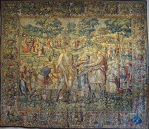 Dayton Art Institute - Image: 'King Abimelech Restores Sarah to her Husband, Abraham', Flemish tapestry by Frans Geubels, Dayton
