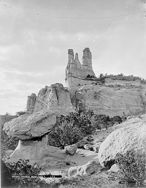 Church Rock, New Mexico - Church Rock, a famous landmark. Photo circa 1875.