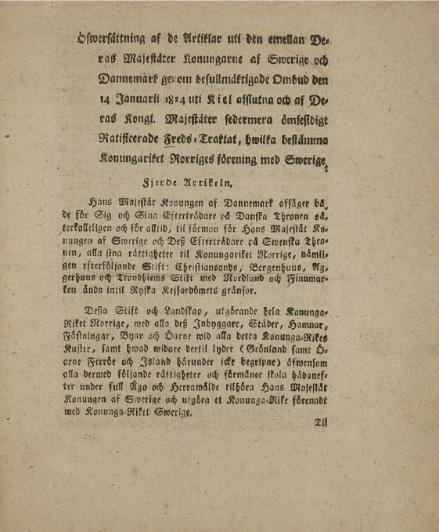 Part del tractat referent a Noruega traduïda al suec, any 1814.