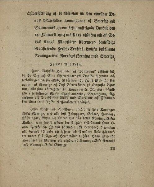 File:Öfwersättning af de Artiklar emellan Konungarne af Swerige og Dannemark.djvu