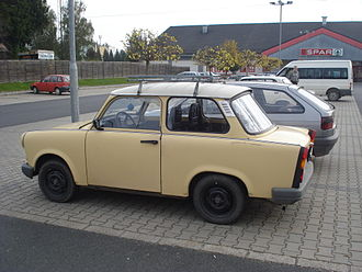 Ostalgie - Old trabants still can be found on streets (2014 in Hungary)
