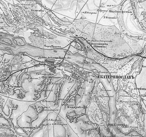 Дніпропетровськ (Катеринослав) на мапі Шуберта, приблизно 1888 рік