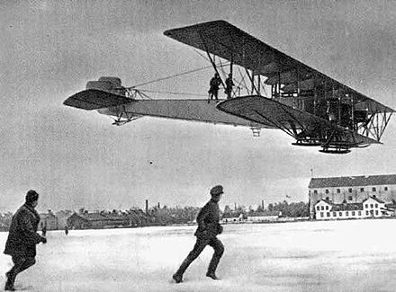 "The Sikorsky Ilya Muromets was designed by Igor Sikorsky as the first ever airliner, but it was turned into a bomber by the Imperial Russian Air Force. Samolet ""Il'ia Muromets"".jpg"