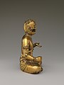 遼 青銅鎏金五髻文殊菩薩像-Manjushri, Bodhisattva of Wisdom, with Five Knots of Hair (Wuji Wenshu) MET DP170210.jpg
