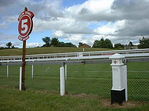 Furlong - The five furlong (1000 m) post on Epsom Downs