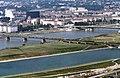 090R24310782 Donauturm, Blick Brigittenau, Gasometer Forsthausgasse, Nordbahnbrücke mit Güterzug, Floridsdorferbrücke.jpg