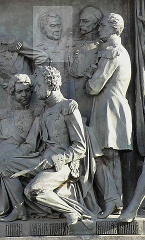 М.П.Лазарев на Памятнике «1000-летие России» в Великом Новгороде