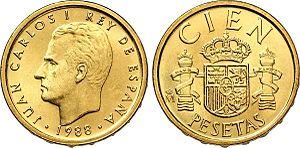 Juan Carlos I of Spain - Juan Carlos I of Spain on a 100 peseta coin from 1988