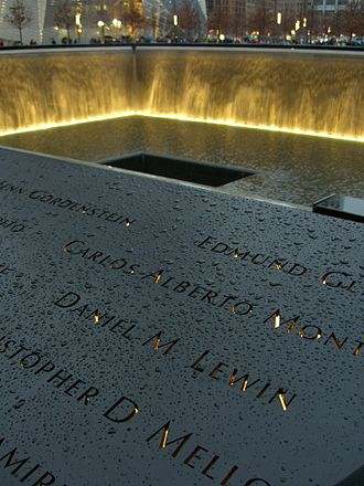 Daniel Lewin - Lewin's name is located on Panel N-75 of the National September 11 Memorial's North Pool, along with those of other passengers of Flight 11.