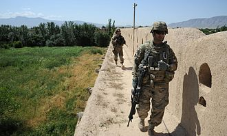 Qala-i-Jangi - U.S. troops patrolling the walls of Qala-i-Jangi in 2008.