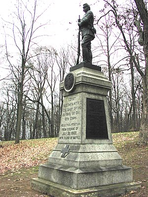 121st New York Infantry - Monument to the 121st Regiment at Gettysburg