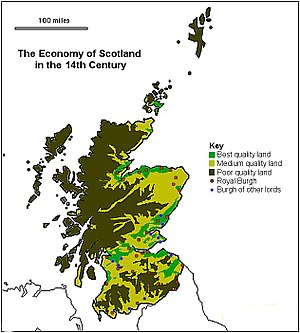Economic history of Scotland - The economy of Scotland in the 14th century