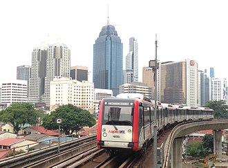 Ampang and Sri Petaling lines - Image: 170607 KL city centre from PWTC