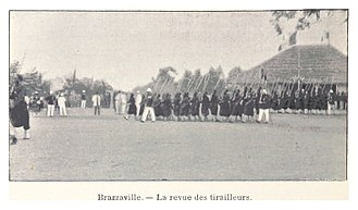 Brazzaville - French Colonial Soldiers at drill in Brazzaville in 1899