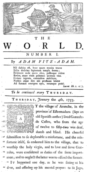 The World (1753 newspaper) - The World, No.1, 1753
