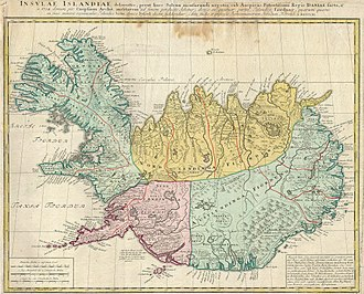 Administrative divisions of Iceland - The historical farthings of Iceland on a map of 1761.