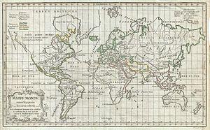 Robert de Vaugondy - 1784 map on a Mercator projection by Robert de Vaugondy: Whites/Blancs (green), Browns/Bruns (red), Yellows/Jaunâtres (yellow), Olives/Olivâtres/ (light green).