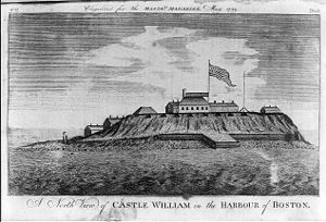 Castle Island (Massachusetts) - Image: 1789 Castle William Boston Harbor Massachusetts Magazine