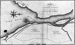 Unity Island - An 1829 map illustrating a proposed harbor on the Niagara River, showing the locations of Bird Island and Unity Island