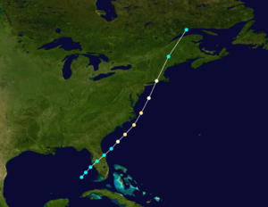 1858 Atlantic hurricane season - Image: 1858 Atlantic hurricane 3 track