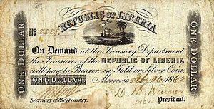 History of Liberia - A one Liberian Dollar banknote from 1862