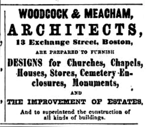 George Meacham - Image: 1862 Woodcock Meacham Architects Boston Directory