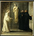 18th-c painting depicting Saint Bernard of Clairvaux's visit to Affligem Abbey in 1146, when he greeted a statue of the Virgin Mary (Ave Maria) and it answered him (Salve Bernarde).jpg