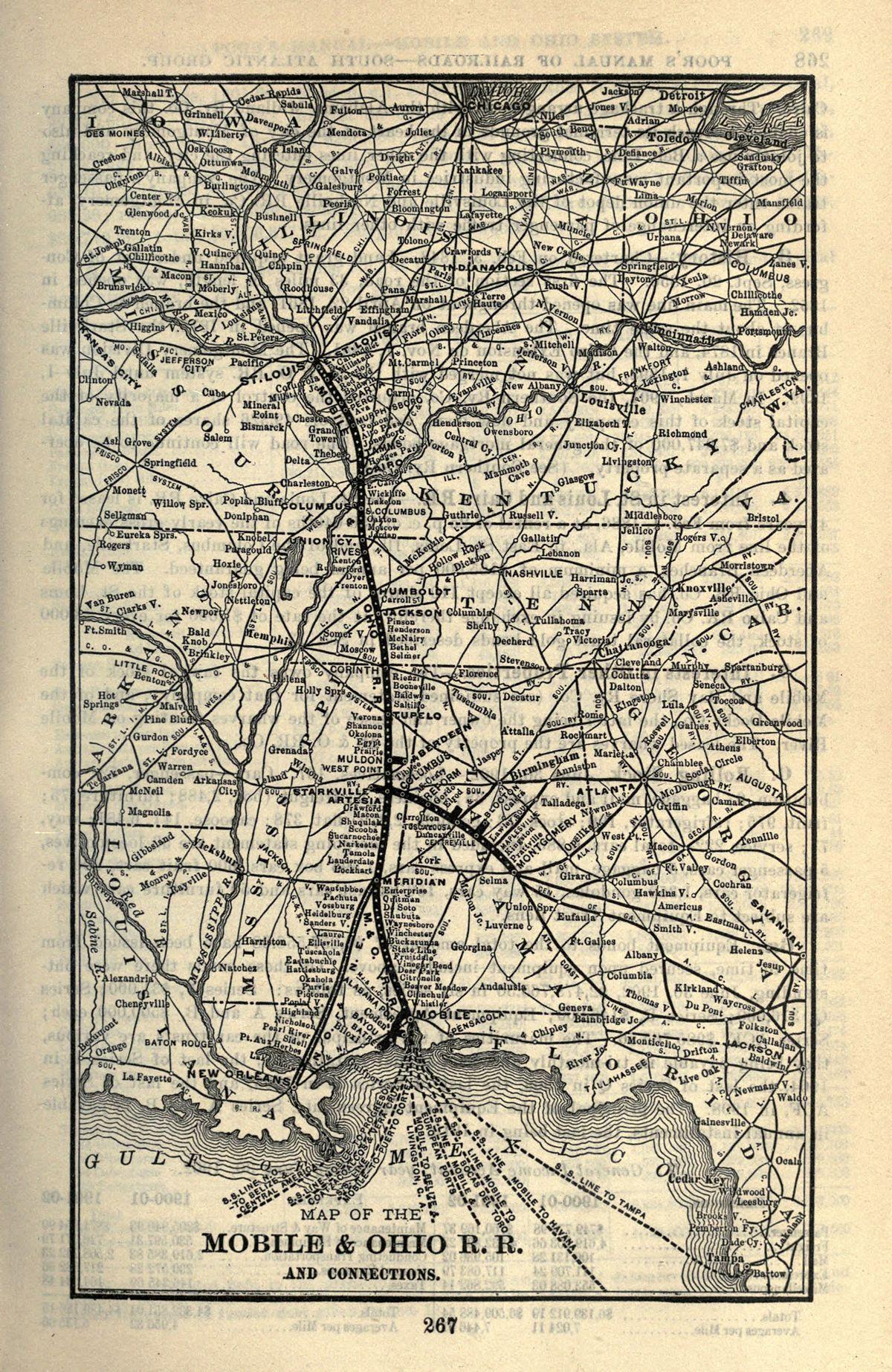 Mobile And Ohio Railroad Wikipedia - Us railroad map 2016 ohio