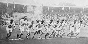 Athletics at the 1912 Summer Olympics – Men's 5000 metres - The start of the final.