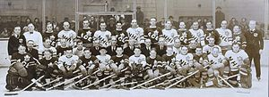 Charlie Gardiner (ice hockey) - Gardiner (far bottom right) at the Ace Bailey Benefit All-Star Game