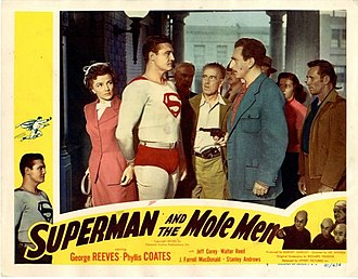 Phyllis Coates - Lobby card from Superman and the Mole Men (1951) with Coates on the left