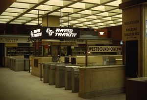 Tower City station - The entrance to the CTS station in 1968