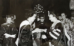Elena Ceaușescu - Elena Ceaușescu receiving an honorary doctorate in Manila (1975).