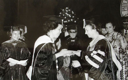 Elena Ceausescu becoming Doctor Honoris Causa of the University of Manila, Philippines, in 1975 1975 Elena Ceausescu Honoris Causa Manilla.jpg