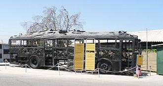 Palestinian political violence - Charred remains of the bus hijacked and burnt by Palestinian militants in 1978 in the Coastal Road massacre
