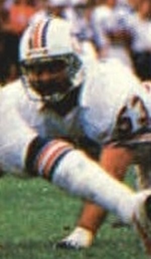 Jay Brophy - Brophy pictured in a defensive play for the Dolphins in the 1985-86 AFC Championship game
