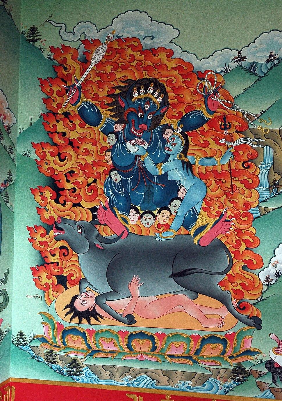 1 Yamantaka riding buffalo Shinjeshe gshin rje gshed rdo rje jigs byed, a Mahayana Yidam