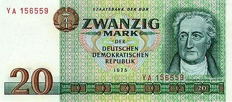 ゲーテの肖像を使用した20マルク紙幣(東ドイツ、1975年発行)Wikipediaより