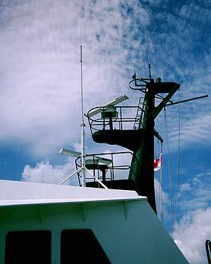 Decca Radar - Decca BridgeMaster II turning units and antennas aboard a BC Ferries vessel in British Columbia, Canada