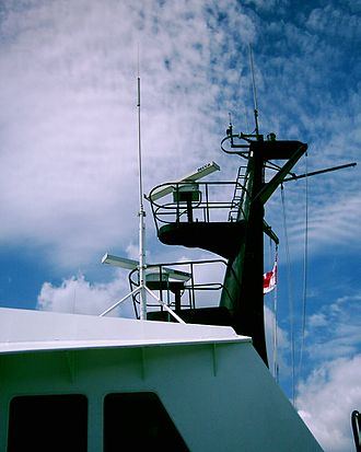 Decca Radar - Decca BridgeMaster II turning units and antennas aboard a BC Ferries vessel in British Columbia, Canada