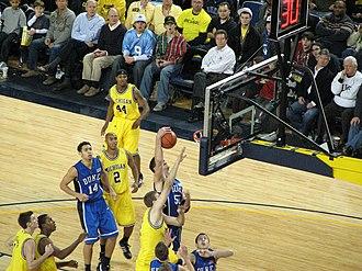 2008–09 Duke Blue Devils men's basketball team - Zoubek (55) grabs a rebound at Michigan (2008-12-06)
