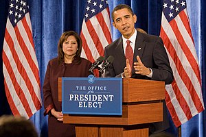 "Presidential transition of Barack Obama - During the transition period, Obama spoke from a lectern bearing the inscription ""Office of the President Elect""."